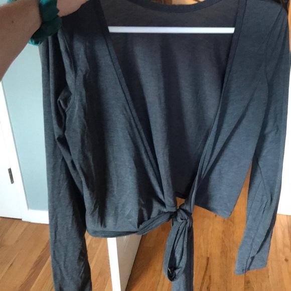 a760c82d5c48c lululemon athletica Tops - It s A Tie LS Blue grey crop top